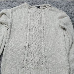 Chaps white and gold accented sweater